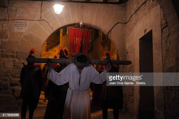 A man representing Jesus during the Holy Week celebrations in Vilalba dels Arcs Spain 24th of March 2016