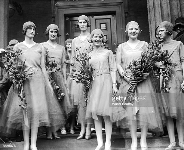 Bridesmaids after the ceremony at the marriage of Piers Debenham and Angel Paget at St Peter's church Eaton Square London