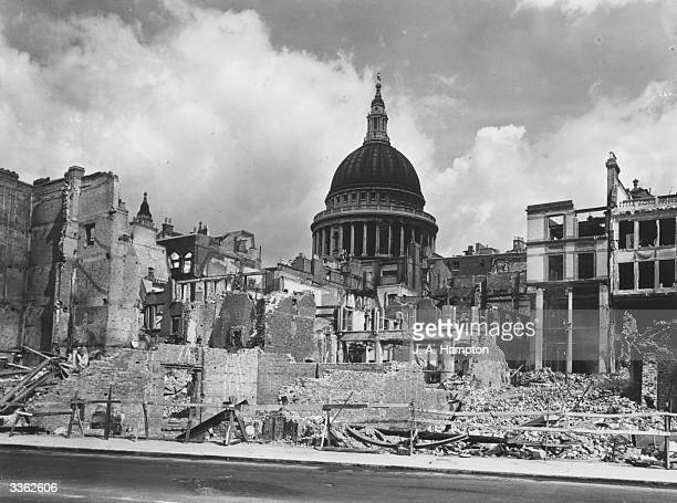 Devastated buildings around St Paul's Cathedral London after an air raid during the Blitz