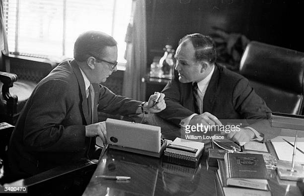 Alabama state governor John Patterson with his aide Andrew Fyall in his office