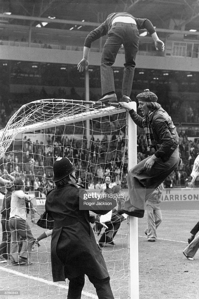 Scottish football fans climbing all over the goal posts after England beat Scotland 5-1 at Wembley. Matches between the two sides have always been a matter of great national importance and used to be a regular fixture, eagerly anticipated by both sets of fans.