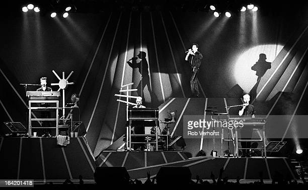 English group Depeche Mode perform live on stage at Ahoy in Rotterdam Netherlands on 24th May 1986 Left to right Alan Wilder Martin Gore Dave Gahan...