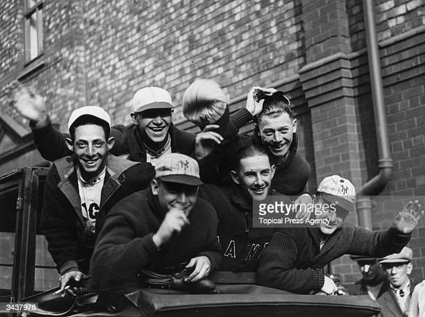 Members of the New York Giants baseball team in Liverpool where they are to play the Chicago Whitesox