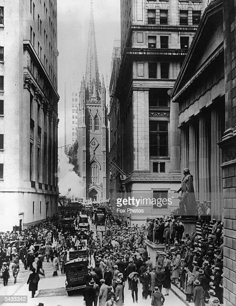 Anxious people on Wall Street New York City during the financial crash on 'Black Thursday'