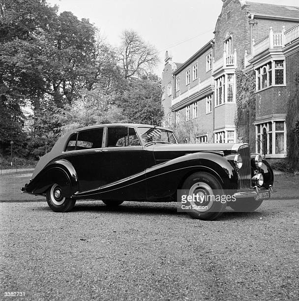 A Bentley Mulliner 4door saloon car parked outside a country house Original Publication Picture Post 6771 German Diesel Car For The Motor Show pub...