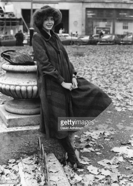 Sylvia Kristel Dutch film actress and star of the erotic film 'Emmanuelle' in Leicester Square London to promote the film