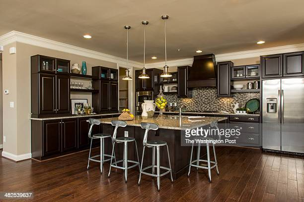 The Center Island in the Kitchen of The Brindley Model Home at Poplar Run on March 24 2014 in Silver Spring Maryland