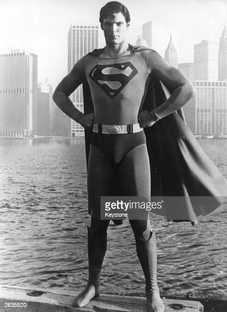 24yearold American film actor Christopher Reeve stands before the Manhattan skyline dressed as the comicbook hero of the film 'Superman'