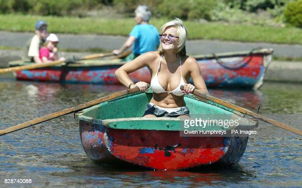 24yearold model and actress Helen Benoist from Newcastle enjoys the sunshine whilst boating at Exhibition Park in Newcastle The heatwave continues...