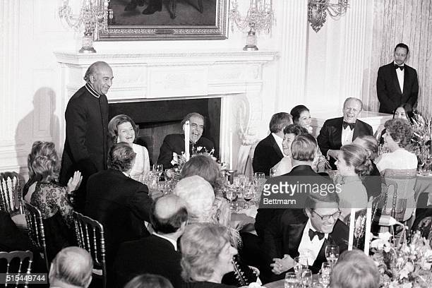 2/5/1975Washington DC Prime Minister Zulfikar Ali Bhutto of Pakistan delivers his toast to President Ford following a State dinner at the White House...