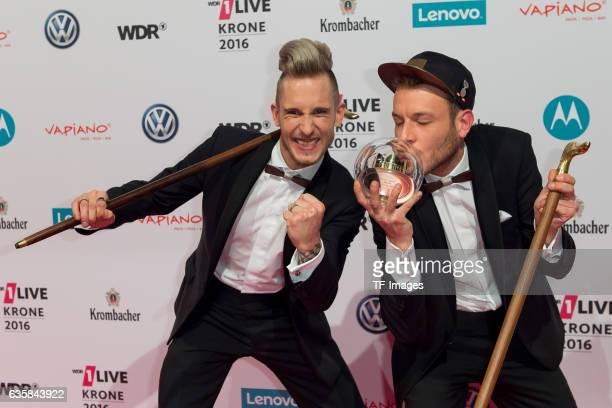 257ers celebrate his award after the 1Live Krone at Jahrhunderthalle on December 1 2016 in Bochum Germany