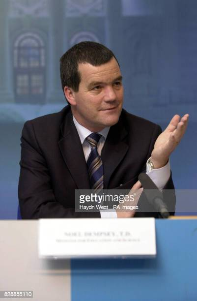 Minister for Education Noel Dempsey speaking to media after the Minister for Finance Charlie McCreevy's prebudget estimates for 2004 at the...