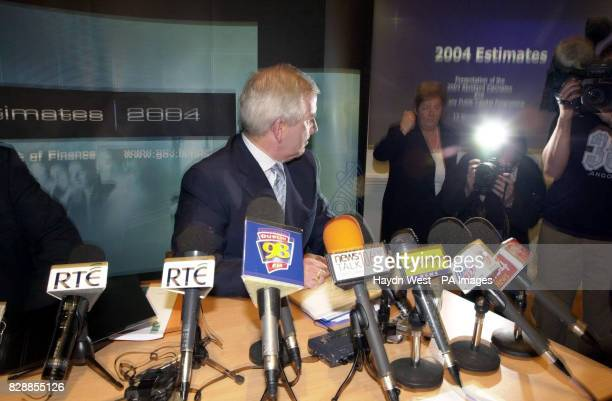 Minister for Finance Charlie McCreevy announcing his prebudget estimates for 2004 at the Government Buildings Dublin Ireland Mr McCreevy stressed the...