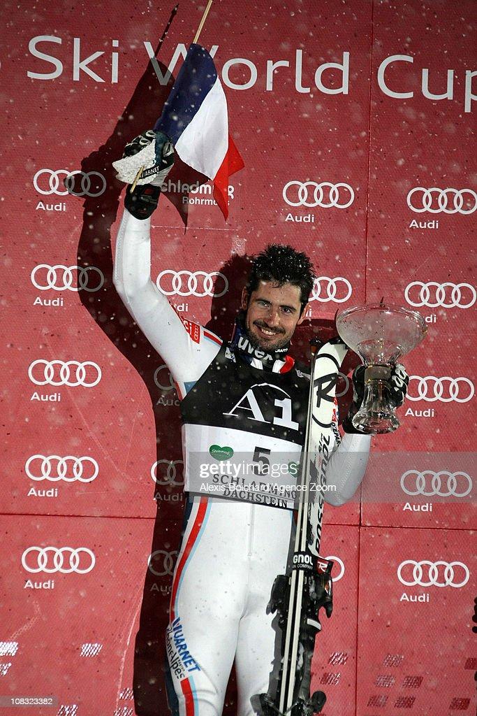 Jean Baptiste Grange of France celebrates in the Audi FIS Alpine Ski World Cup Men's Slalom on January 25, 2011 in Schladming, Austria.