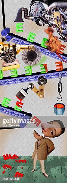 25p x 69p Daniel Niblock color illustration of Rube Goldberglike device putting vitamin E into a man's mouth Sun Sentinel /MCT via Getty Images