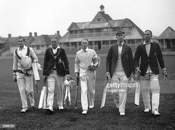 Essex County cricket players ready for a practice at their club ground Leytonstone L to R Shorter Nichols Boswell Dean and Eastman