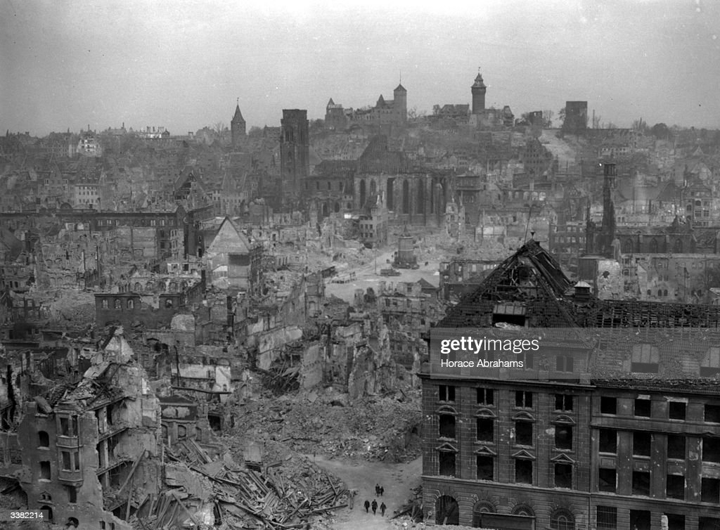 Allied air raid on nuremberg getty images for Cities destroyed in ww2