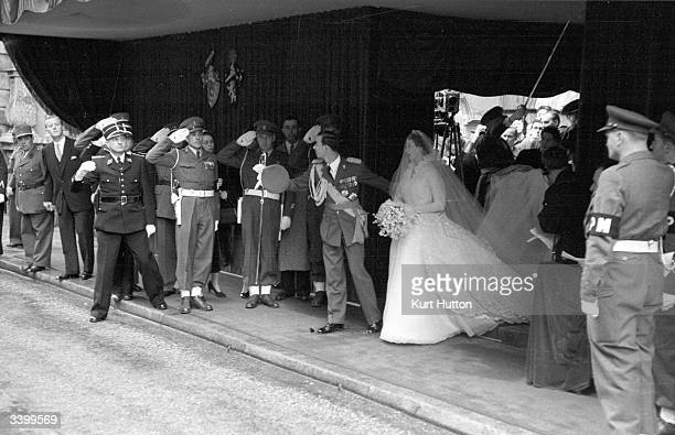 Prince Jean heir to the throne of Luxembourg and his wife Princess Josephine Charlotte of Belgium leaving the cathedral after their wedding Original...