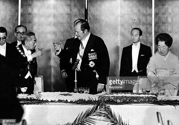 The Paraguayan president Alfredo Strossner and Emperor Hirohito toasting each other at a banquet given by the visiting president in Tokyo On the...