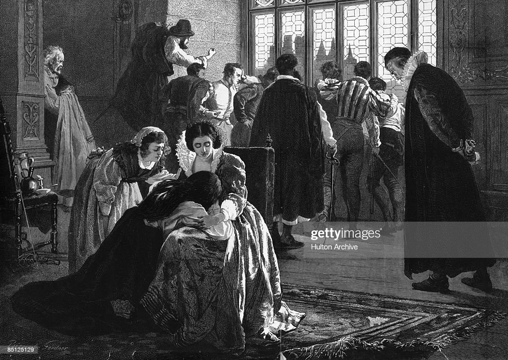 Grieving Huguenots seek to comfort the bereaved during the St Bartholomew's Day Massacre in France, in which Catholic mobs slaughtered thousands of Protestant Huguenots at the command of King Charles IX and his mother, Catherine de Medici. An engraving by Davenport.