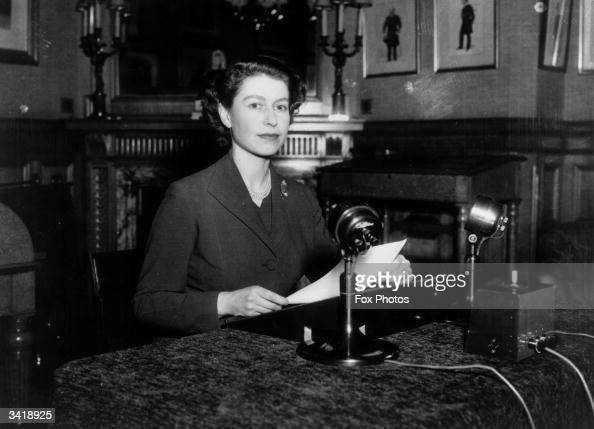 Queen Elizabeth II making her first ever Christmas broadcast to the nation from Sandringham House Norfolk