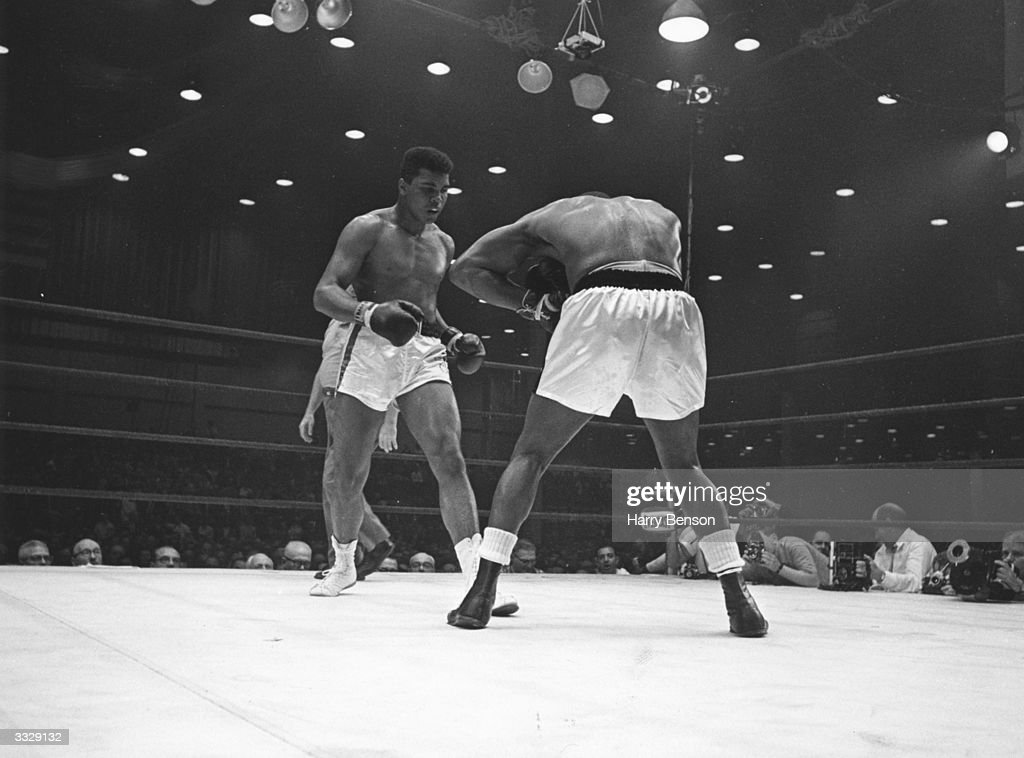 US boxers Cassius Clay and Sonny Liston during their world heavyweight title fight at Miami Beach Florida which Ali went on to win