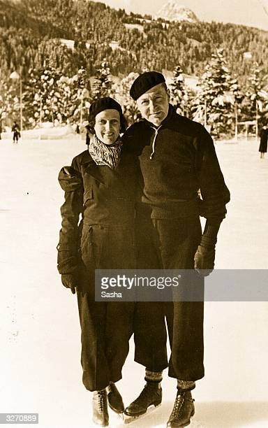 British film star Clive Brook and his wife enjoying a winter sports holiday at Gstaad prior to the release of the film 'The Dictator'