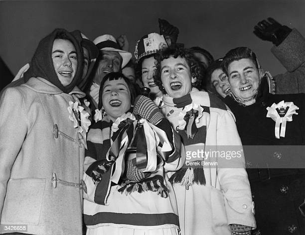 Supporters of Leyton Orient football club at Leyton Orient Midland Station before boarding a train to Cardiff where Leyton Orient are playing in the...