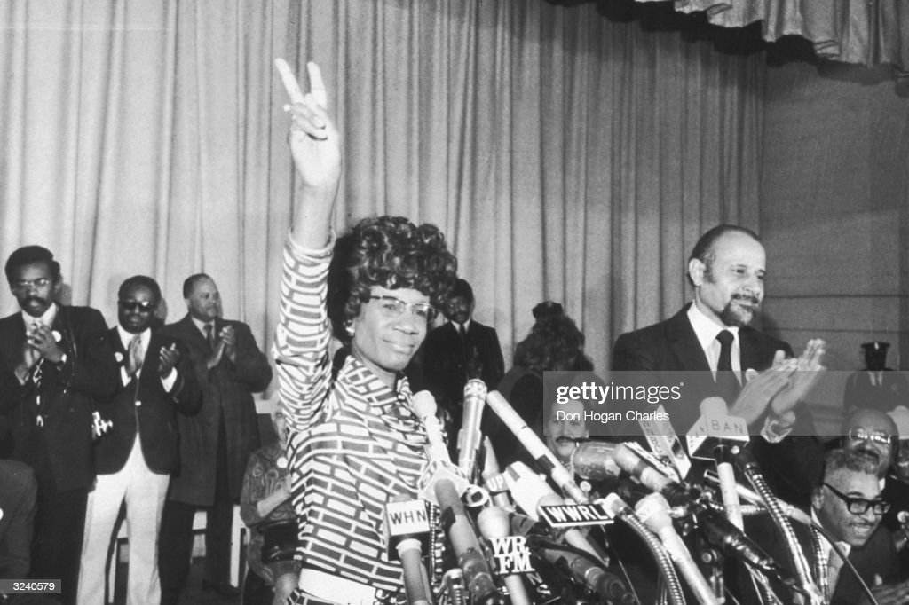 US Representative Shirley Chisholm of Brooklyn announces her entry for Democratic nomination for the presidency, at the Concord Baptist Church in Brooklyn, New York. Manhattan borough president Percy Sutton applauds at right.