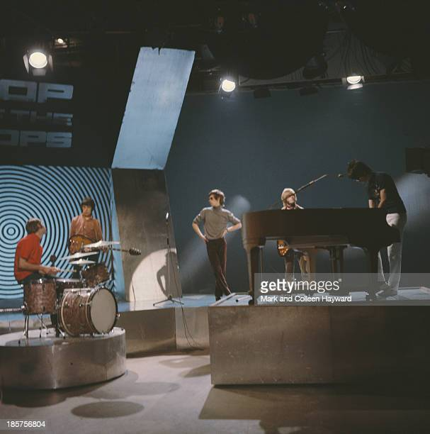 English rock group The Rolling Stones rehearse on the set of BBC TV show 'Top Of The Pops' on 25th January 1967 Left to right Charlie Watts Bill...
