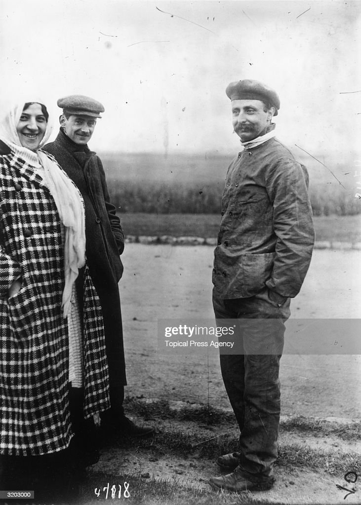 Aviator Louis Bleriot (1872 - 1936) before he made the first flight across the English channel from Baraques near Calais to Dover in a small 24hp monoplane. The woman is his wife.