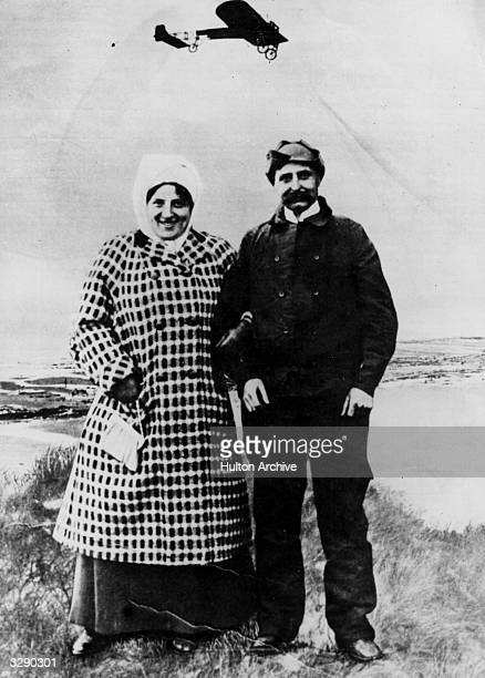 The first air crossing of the Channel was achieved by Louis Bleriot seen here in a montage with his wife after the successful flight on 25th July