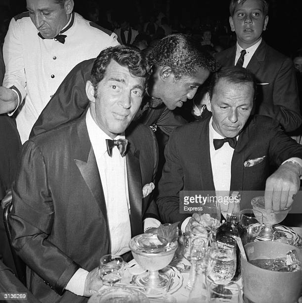 Dean Martin Sammy Davis Junior and Frank Sinatra at the Cocoanut Grove club Hollywood for Eddie Fisher's opening night