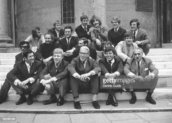 Disc jockeys from BBC Radio 1 and Radio 2 gathered at Broadcasting house in London to celebrate Radio 1's first birthday John Peel David Symons Dave...