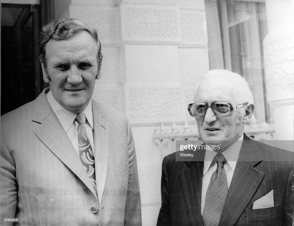 The Chairman of Leeds United, Mr Cousins, with the manager of Leeds United, Don Revie (1927 - 1989), at the Football Association Headquarters at Lancaster Gate, London. A disciplinary commission is investigating the Club's history of suspensions and bookings.