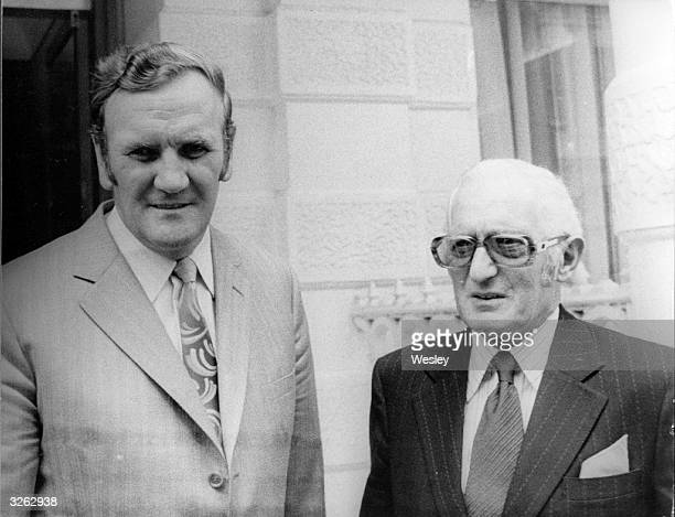 The Chairman of Leeds United Mr Cousins with the manager of Leeds United Don Revie at the Football Association Headquarters at Lancaster Gate London...