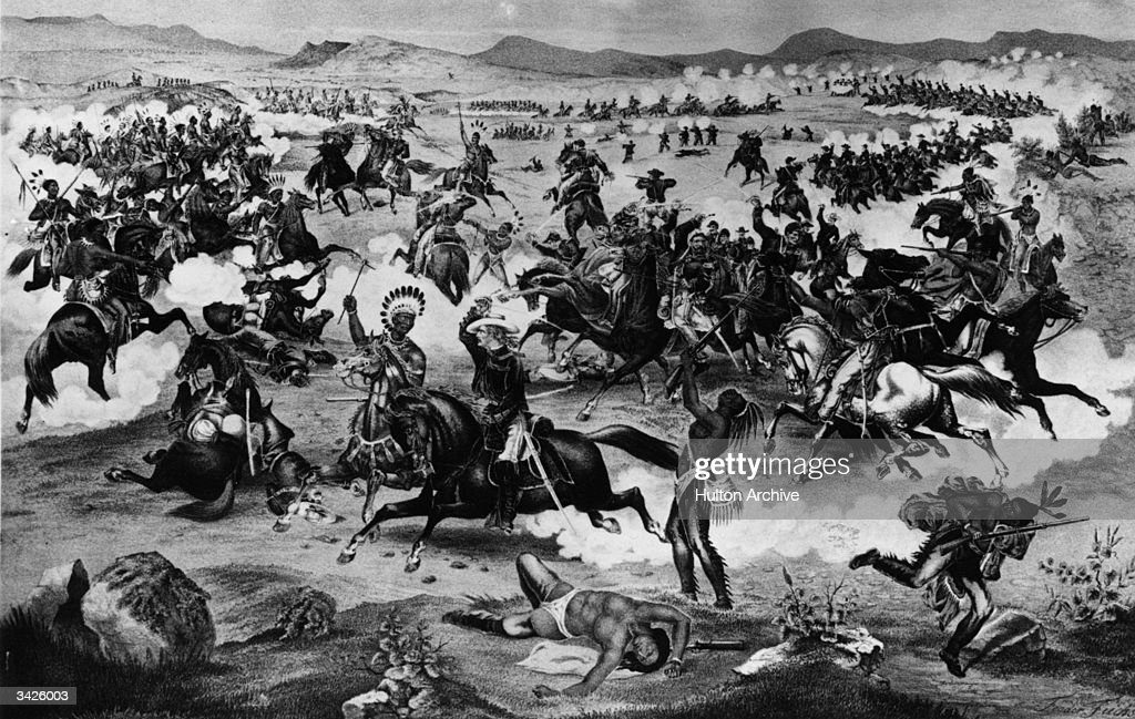 General Custer and <a gi-track='captionPersonalityLinkClicked' href=/galleries/search?phrase=Crazy+Horse+-+Leader&family=editorial&specificpeople=12803553 ng-click='$event.stopPropagation()'>Crazy Horse</a> (centre couple) during the battle of the Little Big Horn between the US Army and Sioux Native Americans commanded by chief <a gi-track='captionPersonalityLinkClicked' href=/galleries/search?phrase=Crazy+Horse+-+Leader&family=editorial&specificpeople=12803553 ng-click='$event.stopPropagation()'>Crazy Horse</a>. Custer had underestimated the size of the encampment and all his column were killed. Original Artwork: Painting by Feodor Fuchs Entitled Custer's Last Charge