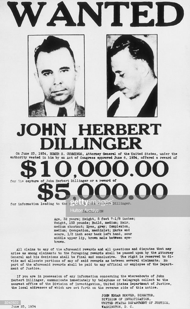 Most Wanted Criminals of 1934 Pictures – Wanted Criminal Poster