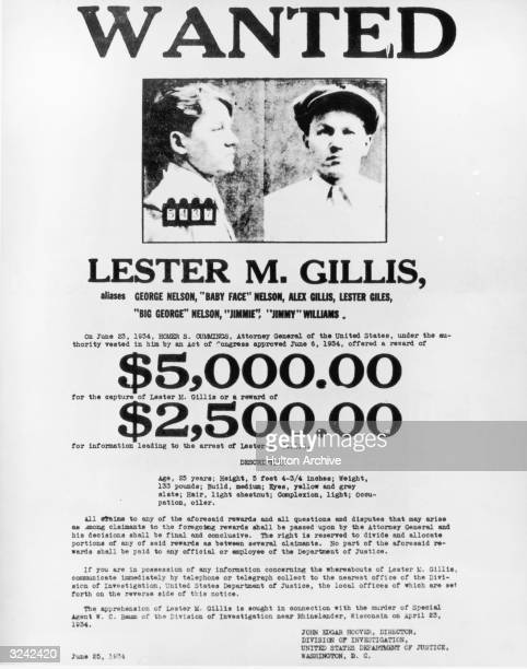 Wanted poster for American criminal Lester Gillis also known as 'Babyface' Nelson or George Nelson who was a member of John Dillinger's outlaw gang