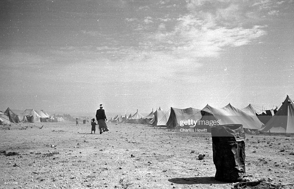 A Palestinian refugee camp near the shores of the Dead Sea in Jordan in the year following the Arab Israeli War which marked the creation of the...