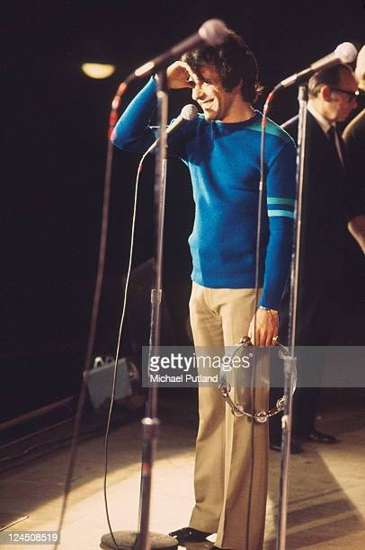 American singer Frankie Valli performs on stage London on 25th June 1972