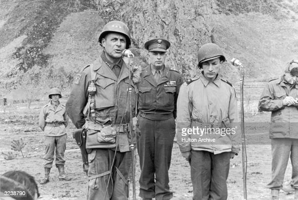 US Lieutenant Matthew Bunker Ridgway Commander in Chief of United Nations Forces in Korea addresses a Greek battalion during ceremonies celebrating...