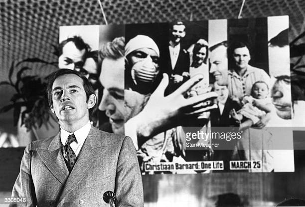 South African surgeon Christiaan Neethling Barnard who performed the first successful human heart transplant speaking at the launch of his...