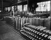 Shells of all sizes at a British munitions factory where production has increased for the War effort