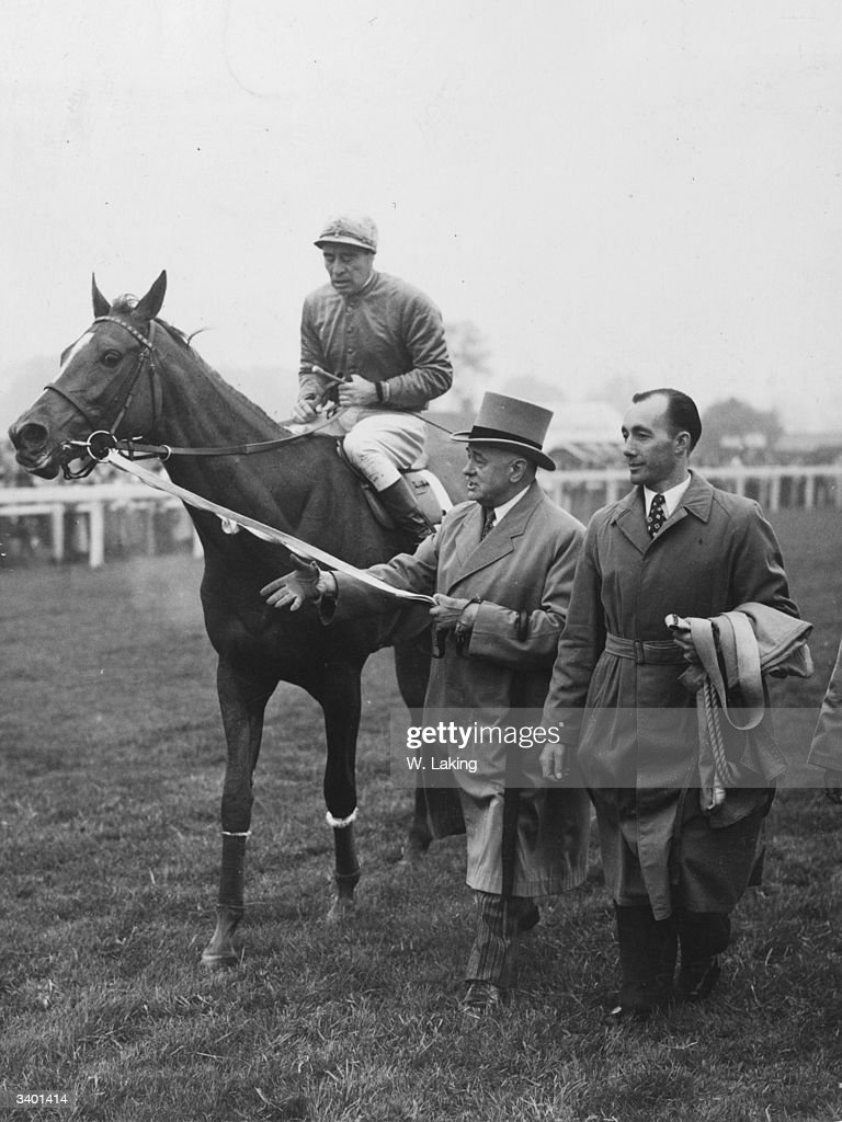 Owner Marcel Boussac leading in his filly Asmena with Willie Johnstone up after she had won the Oaks.