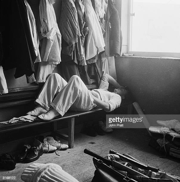 Worcestershire's opening batsman farmer's son Peter Richardson takes a few minutes to relax in the player's dressing room at his home ground before...