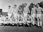 The Celtic team line up before their European Cup Final match against Inter Milan in Lisbon They went on to win 21
