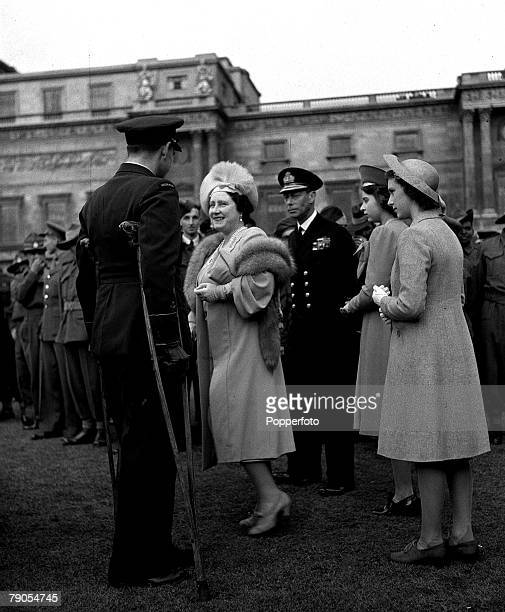 25th May Garden Party at Buckingham Palace King George VI and Queen Elizabeth and the their two daughters Princess Elizabeth and Margaret meet...