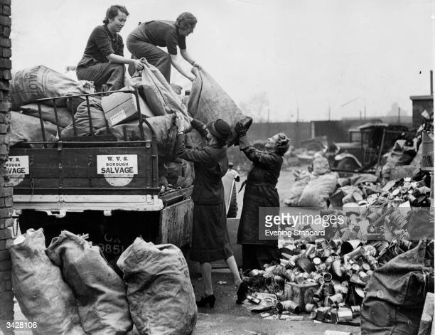 The WVS unloading salvage at a depot where it is to be sorted