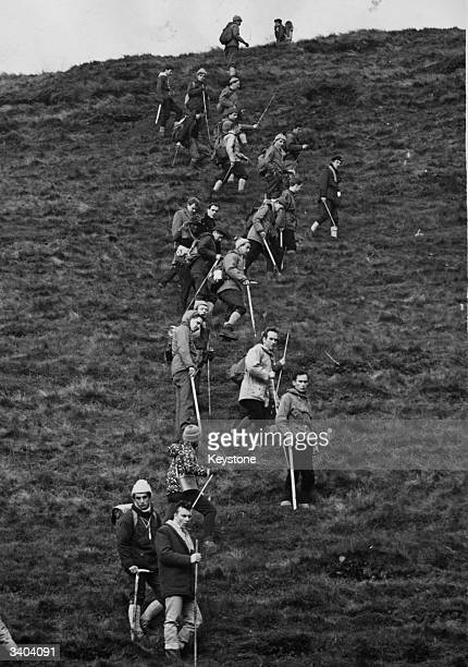 Teams of searchers at Doctor's Gate at Snake Pass between Manchester and Sheffield searching for graves after the Moors Murders